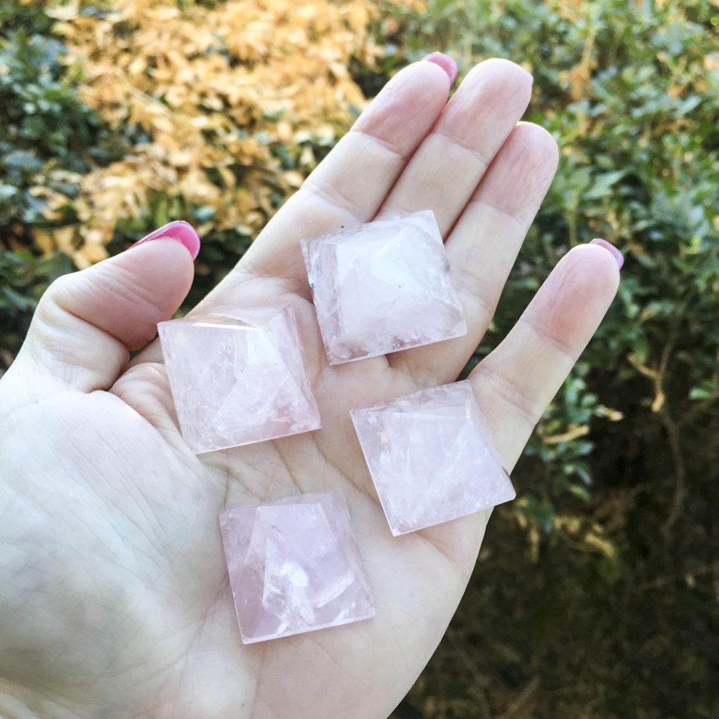 Small rose quartz pyramid