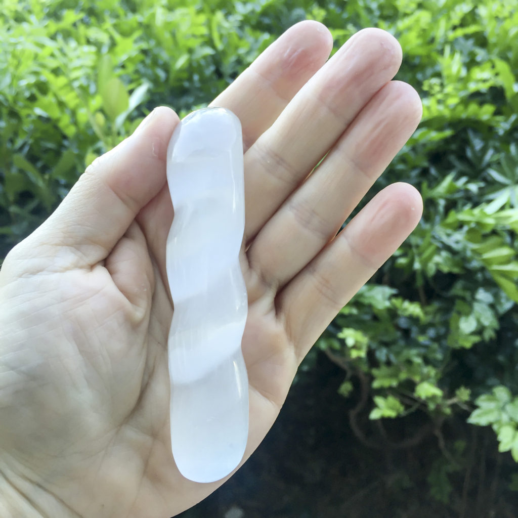 Selenite massage wand - spiral