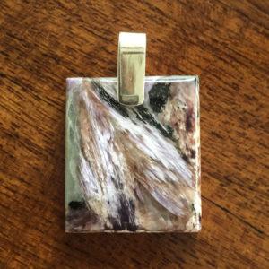square russian charoite pendant